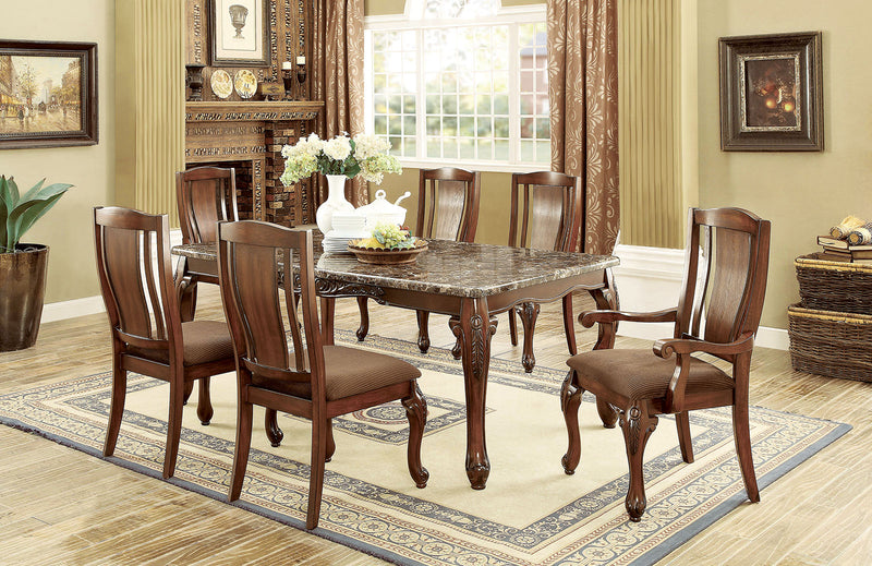 JOHANNESBURG I Brown Cherry, Brown 7 Pc. Dining Table Set (2AC+4SC) image