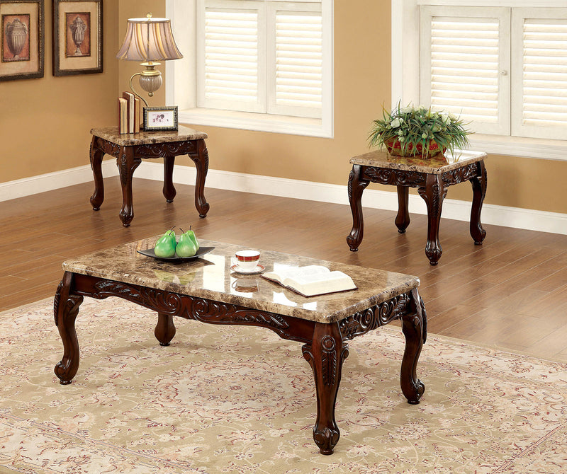 LECHESTER Dark Oak/Ivory 3 Pc. Coffee Table Set image