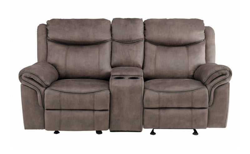 Homelegance Furniture Aram Double Glider Reclining Loveseat in Dark Brown 8206NF-2 image