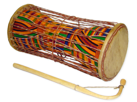 "Kente Cloth Talking Drum 10"" - J0143"