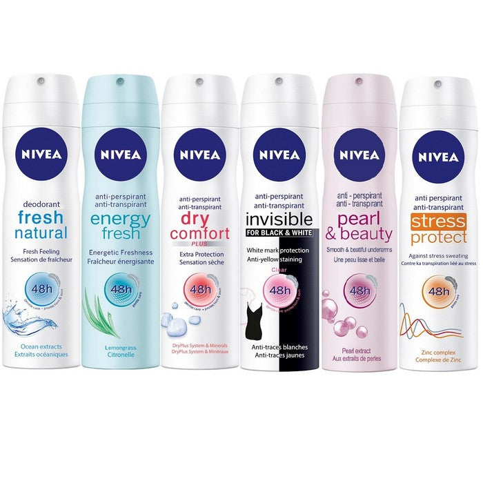 shopify-6-Pack Assorted Nivea Deodorant Antiperspirant Spray For Women 48h 5.07oz-1