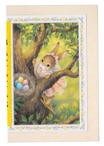 greetings: rabbit wearing a dress peers at a nest filled with colorful eggs
