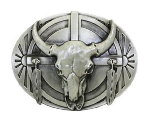Bull Skull And Feathers Belt Buckle Native Western Eagle--1191