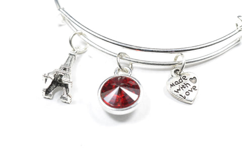 Swarovski Crystal Birthstone with Cute Paris eiffel tower Charm Wire Bangle Bracelet