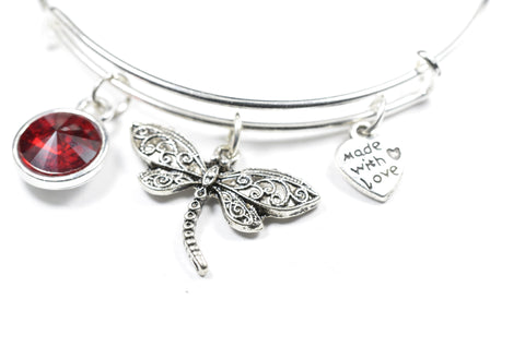 Crystal Birthstone with Cute Dragonfly Charm Wire Bangle Bracelet