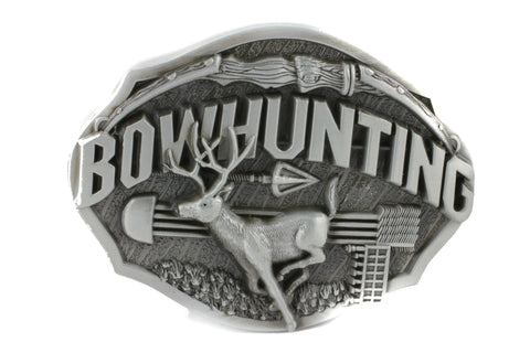 Silver Bow Hunter Deer Southern Hunting Belt Buckle
