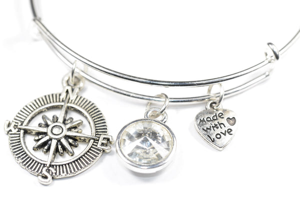 Cute Compass Charm with Crystal Birthstone Wire Expandable Bangle Bracelet
