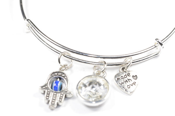 Swarovski Crystal Birthstone with Cute Hamsa Eye Charm Wire Bangle Bracelet