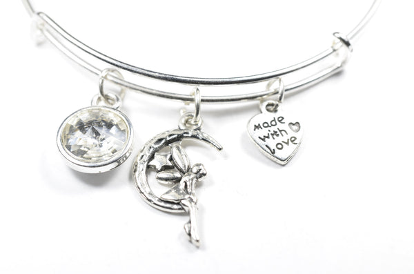 Crystal Birthstone with Cute Fairy on the moon Charm Wire Bangle Bracelet