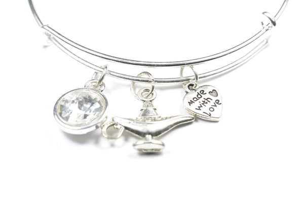Crystal Birthstone with Cute Aladdin Lamp Charm Wire Bangle Bracelet