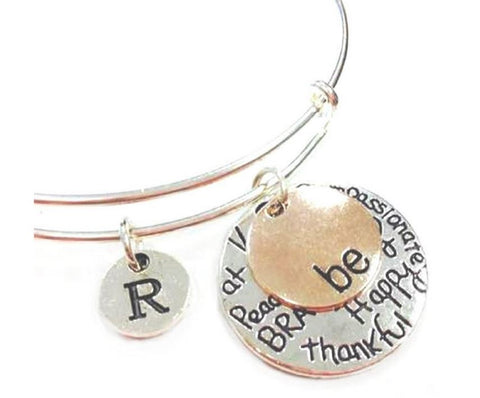 "Two-Tone ""Be"" Graffiti Charm Collection Two Pieces Expandable Bangle Personalized Initial Bracelet"