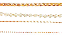 Deal Fashionista  4 Strands Rhinestones Pearls Chain Belt