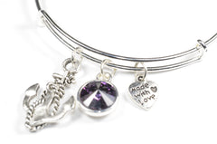 Wire Bangle Bracelet with Crystal Birthstone and Cute Boat anchor Charm