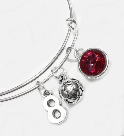 Swarovski Crystal Birth Stone Soccer Ball Favorite Number Charm Thin Wire Adjustable Bracelets