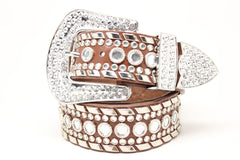Deal Fashionista Dazzling Western Rhinestone Studded Cowgirl Leather Belt