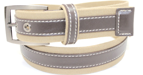 Men's Skinny Webbed and Cotton Leather Belt