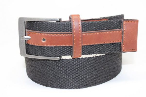 Deal Fashionista Men's Webbed and Cotton Leather Belt