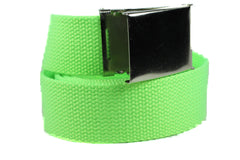 Unisex Canvas Military Web Belt with Flip Top Metal Buckle 1.5 Width