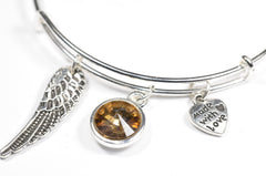 Crystal Birthstone with Cute Angel Wing Charm Wire Bangle Bracelet