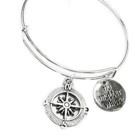 Compass & NO MATTER WHERE Charm Adjustable Personalized Bracelets