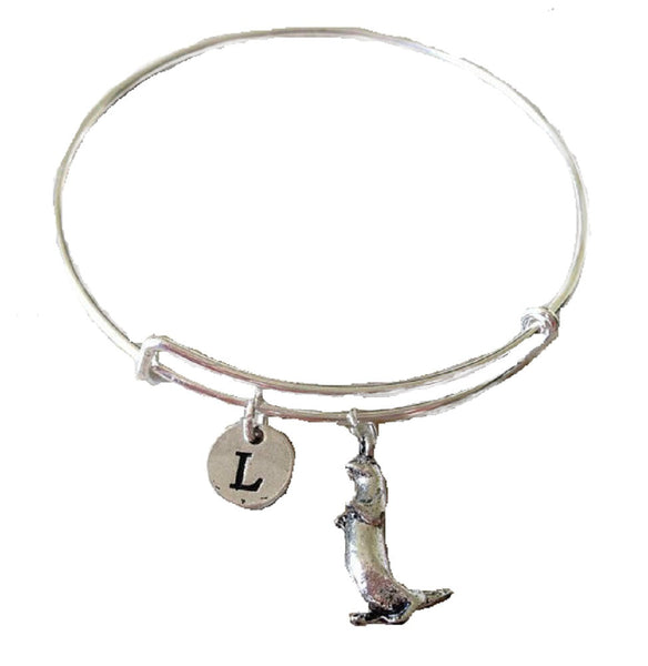 3D Otter Expandable Bangle Personalized Initial Bracelet