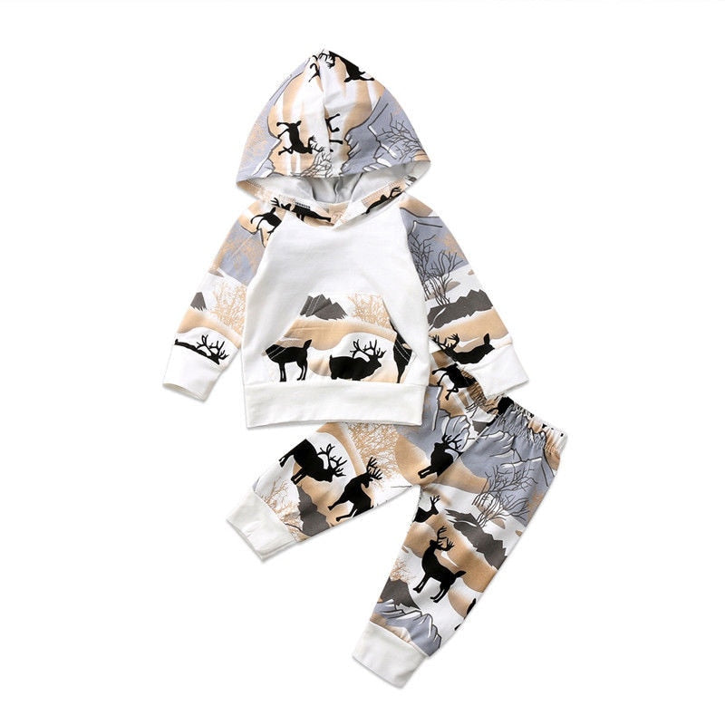 FOCUSNORM New Fashion Newborn Baby Boys Girl Deer Hooded Tops Sweater Long Pants Outfits Clothes Set