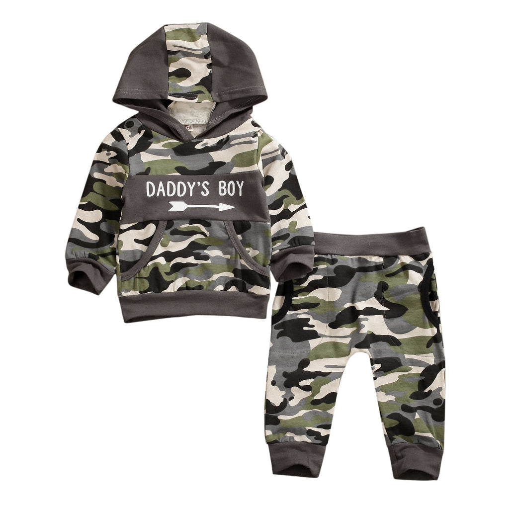 Camouflage Kids Baby Boys Autumn Clothes Hooded Sweatshirt+Long Pants Outfit