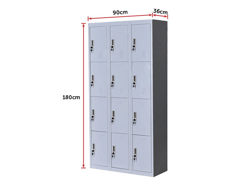 12 Door Locker - Office/Gym - Light Grey