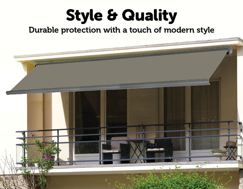 5.0m x 3.0m Retractable Folding Arm Awning Heavy Duty Full Cassette Motorised