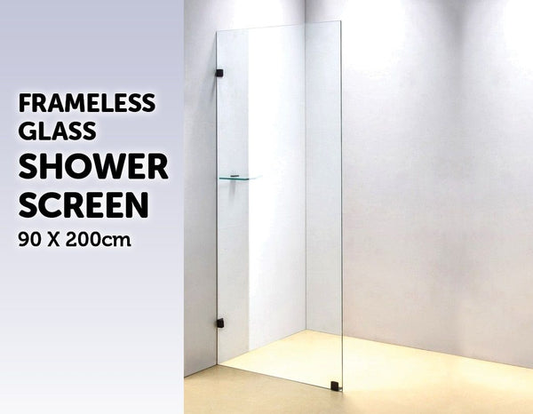 900 x 2000mm Frameless 10mm Safety Glass Shower Screen