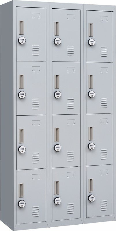 4-Digit Combination Lock 12 Door Locker for Office Gym - Light Grey