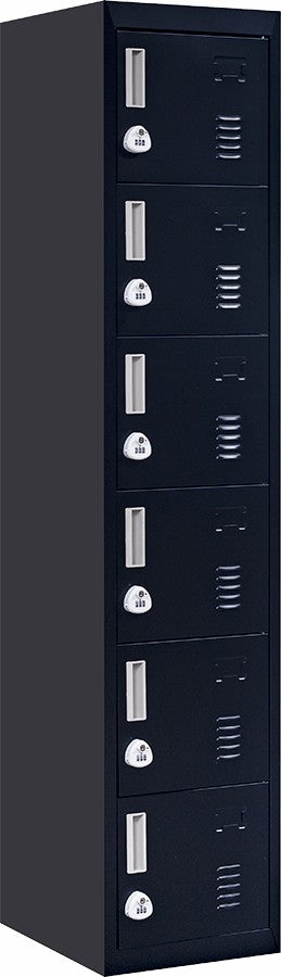 3-Digit Combination Lock 6-Door Locker for Office Gym Shed School Home Storage Black