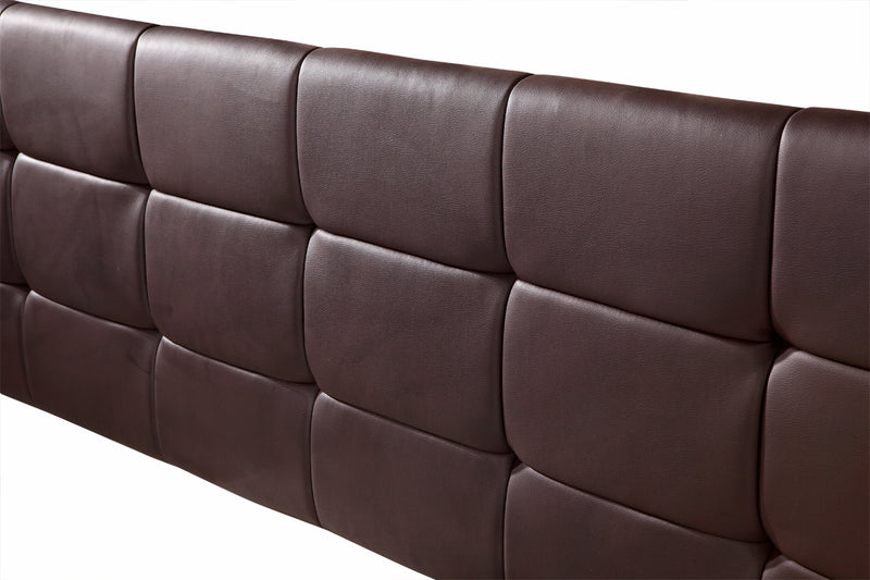 PU Leather King Bed Deluxe Headboard Bedhead - Brown