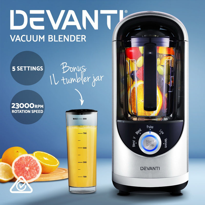 Devanti Commercial Vacuum Blender Juicer Mixer Food Processor Smoothie Silver