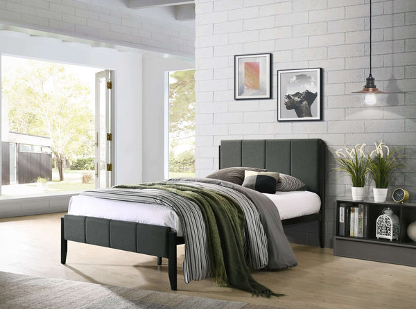 Fabric Upholstered Bed Frame in Charcoal - King Single