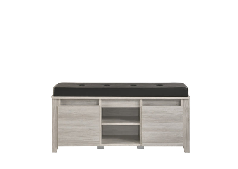 Bench Shoe Cabinet Leather Upholstery In White Oak