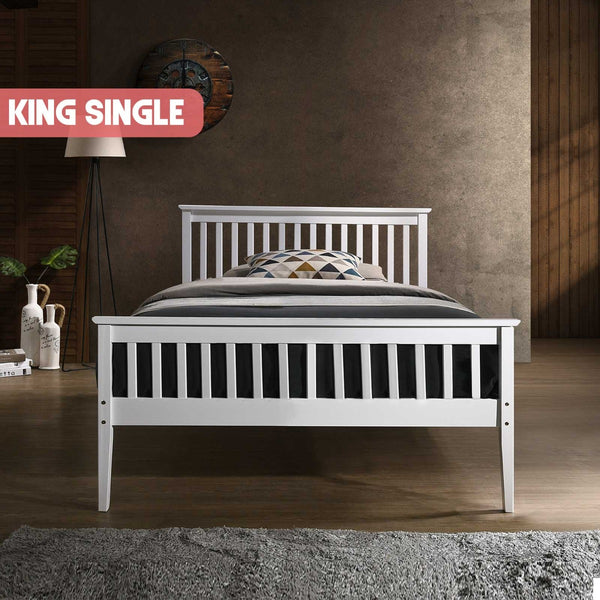 Wooden Bed Frame in White - King Single