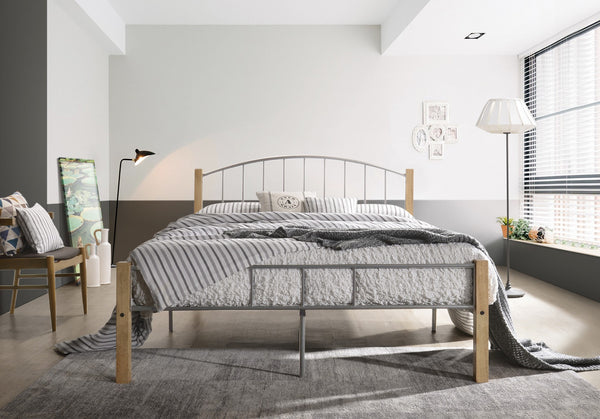 DOUBLE  bed frame w/ solidwood post in Natural + Silver