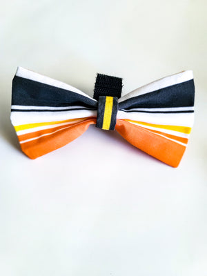 Candy Corn Striped Bow Tie - love dog republic