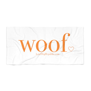"Open image in slideshow, ""Woof"" Beach Towel - love dog republic"