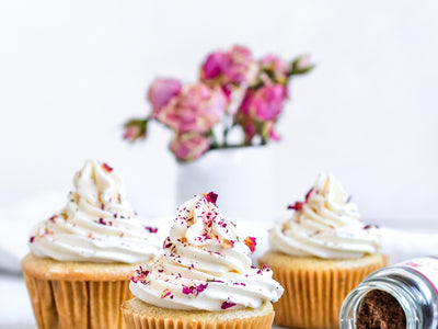 Vegan Cardamom Vanilla Cupcakes with Rose Frosting