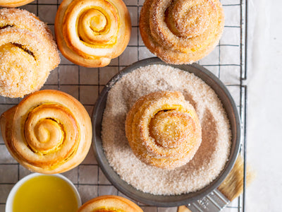 Vanilla Bean Custard Sweet Rolls with Vanilla Sugar