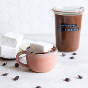 Ganache Hot Chocolate with Peppermint Marshmallows