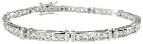 925 sterling silver platinum finish fashion channel set tennis bracelet