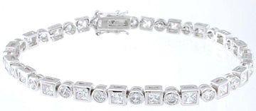 925 sterling silver platinum finish princess tennis bracelet