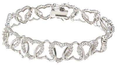 925 sterling silver rhodium finish cz heart fashion bracelet