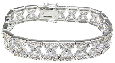 925 sterling silver rhodium finish cz marquise antique style bracelet