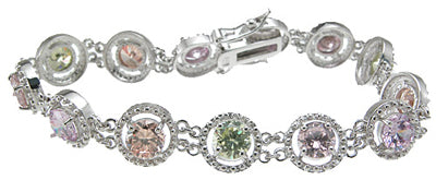 925 sterling silver rhodium finish cz fashion bracelet 6 ct
