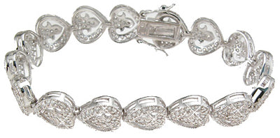 925 sterling silver rhodium finish cz heart antique style bracelet 1 75 ct