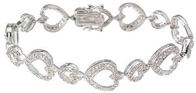 925 sterling silver rhodium finish cz heart antique style bracelet 1 25 ct
